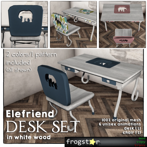 Frogstar - Elefriend Desk Set Poster (White Wood)