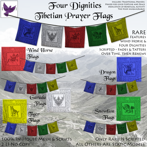 [ free bird ] Four Dignities Tibetian Prayer Flags Ad